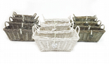 White Grey Shabby Chic Wicker Kitchen Fruit Rectangle Storage Baskets Xmas Hamper Basket